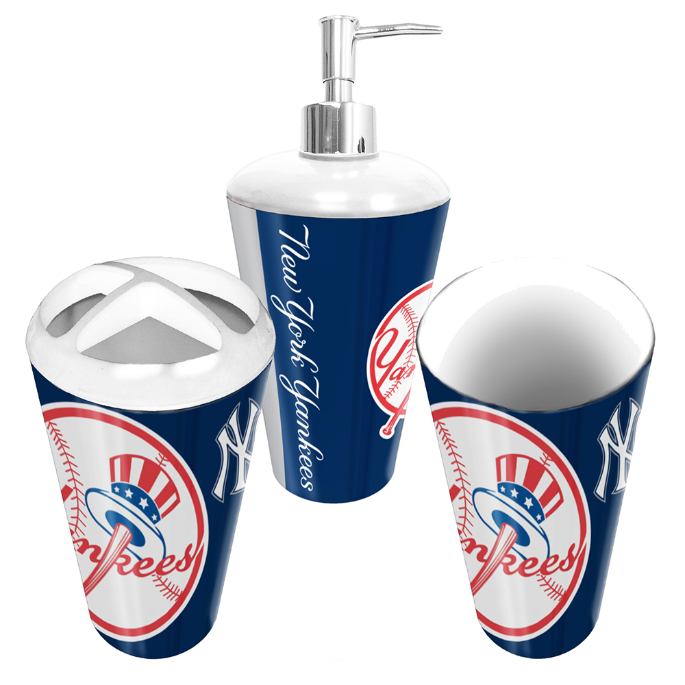 New york yankees mlb bath tumbler toothbrush holder for Yankees bathroom decor