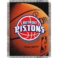 "Detroit Pistons NBA Woven Tapestry Throw Blanket (48x60"")"""