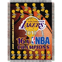 "Los Angeles Lakers 16x NBA Champs Commemorative Woven Tapestry Throw Blanket by Northwest (48x60"")"""