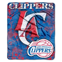 Los Angeles Clippers NBA Royal Plush Raschel Blanket (Drop Down Series) (50x60)
