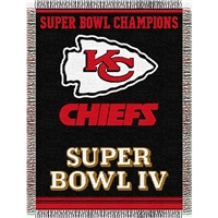 "Kansas City Chiefs NFL Super Bowl Commemorative Woven Tapestry Throw (48x60"")"""