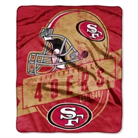 San Francisco 49ers NFL Royal Plush Raschel Blanket (Grand Stand Raschel) (50in x 60in)
