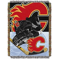 "Calgary Flames NHL Woven Tapestry Throw Blanket (Home Ice Advantage) (48x60"")"""