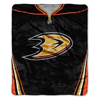 Anaheim Ducks NHL Royal Plush Raschel Blanket (Jersey Series) (50in x 60in)