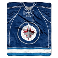 Winnipeg Jets NHL Royal Plush Raschel Blanket (Jersey Series) (50in x 60in)