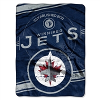 Winnipeg Jets NHL Royal Plush Raschel Blanket (Stamp Series) (60x80)