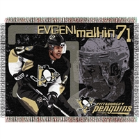 "Evgeni Malkin #71Pittsburgh Penguins NHL Woven Tapestry Throw (48x60"")"""