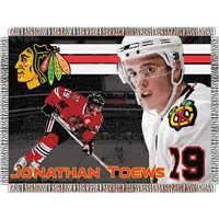 "Johnathan Toews #19 Chicago  Blackhawks NHL Woven Tapestry Throw (48x60"")"""
