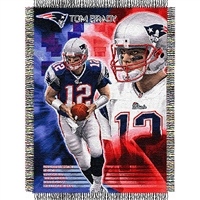 "Tom Brady #12 New England Patriots NFL Woven Tapestry Throw Blanket (48x60"")"""
