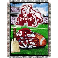 "Mississippi State Bulldogs NCAA Woven Tapestry Throw (Home Field Advantage) (48x60"")"""