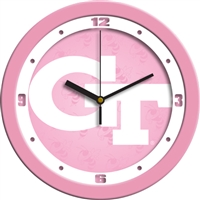 "Georgia Tech Yellow Jackets 12"" Wall Clock - Pink"