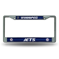 Winnipeg Jets NHL Bling Glitter Chrome License Plate Frame