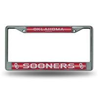Oklahoma Sooners NCAA Bling Glitter Chrome License Plate Frame