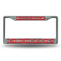 Kansas City Chiefs NFL Bling Glitter Chrome License Plate Frame