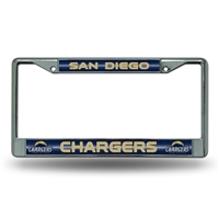 San Diego Chargers NFL Bling Glitter Chrome License Plate Frame