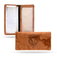 New Mexico Lobos NCAA Embossed Checkbook Holder (Pecan Cowhide)
