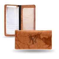 New York Yankees MLB Embossed Checkbook Holder (Pecan Cowhide)