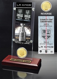 Highland Mint LA Kings 2-time Stanley Cup Champions Ticket & Minted Coin Acrylic Desk Top