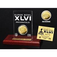 Super Bowl XLVI 24KT Gold Flip Coin Desk Top Acrylic