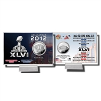 Super Bowl XLVI Silver Flip Coin Card