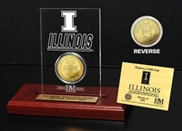 University of Illinois Fighting Illini 24KT Gold Coin Etched Acrylic
