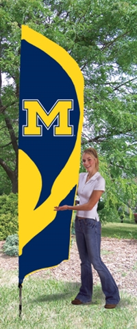 Michigan Wolverines Tall Team Flag with Pole