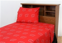 Wisconsin Badgers Printed Sheet Set King - Solid