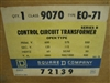 9070EO-71 1 KVA 1PH SQUARE D TRANSFORMER 600V-120V