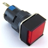 PB-16I-MAIN-FR-12V 16MM RED ILLUMINATED LED MAINTAINED SQUARE PUSH BUTTON 12V AC/DC