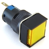 PB-16I-MAIN-FY-12V 6MM YELLOW ILLUMINATED LED MAINTAINED SQUARE PUSH BUTTON 12V AC/DC