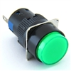 PB-16I-MOM-YG-24V 16MM ILLUMINATED LED MOMENTARY  ROUND GREEN PUSHBUTTON 24VACDC