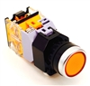 YC-P22PMO-FY YuCo 22MM PUSH BUTTON YELLOW MOMENTARY FLUSH M. INCLUDED 1NO 1NC CONTACT BLOCKS