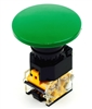PBC-P22PMO-M60G 22MM GREEN PUSH BUTTON MOMENTARY 60MM MUSHROOM. INCLUDED 1NO/1NC CONTACT BLOCK