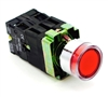 PBC-P22XTMO2-FIR-24V DIRECT REPLACEMENT FITS TELEMECANIQUE XB2BW34B1C 22MM RED FLUSH PUSH BUTTON MOMENTARY METAL ILLUMINATED  2 SCREW 1NO/1NC ZB2BE101,ZB2BE102 CONTACT BLOCKS 24V AC/DC CONTROLS.
