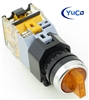 YC-SS22PMA-I3Y-6 22mm 3 POSITION MAINTAINED YELLOW ILLUMINATED SELECTOR SWITCH 12V AC/DC.INCLUDED 2/NO CONTACT BLOCK. (YOU CAN CHANGE THE VOLTAGE TO 24V, 120V OR 220V)