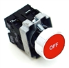 PBC-XB4BA42-OFF DIRECT REPLACEMENT FITS TELEMECANIQUE 22MM RED OFF FLUSH PUSH BUTTON WITH 1NO/1NC CONTACT BLOCK (YOU CAN ADD OR CHANGE THE CONTACT BLOCKS TO 2NC OR 2 NO)