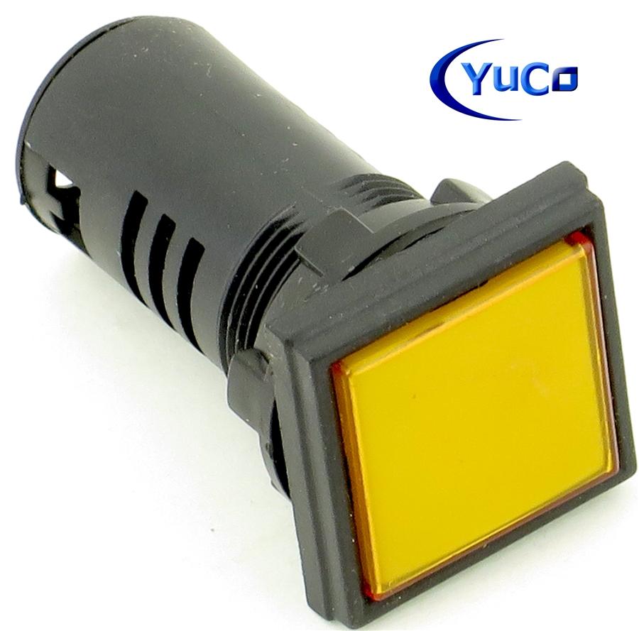 Pli 22csqy 12v Compact Led Pilot Light 22mm Yellow Square Ac Dc