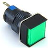 YC-16IMAIN-FG-6 16MM GREEN ILLUMINATED LED MAINTAINED SQUARE PUSH BUTTON 12V AC/DC