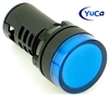 YuCo YC-22B-6 EUROPEAN STANDARD TUV CE LISTED 22MM LED PANEL MOUNT INDICATOR LAMP BLUE 12V AC/DC