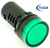YuCo YC-22G-2 EUROPEAN STANDARD TUV CE LISTED 22MM LED PANEL MOUNT INDICATOR LAMP GREEN 120V AC/DC