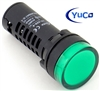 YuCo YC-22G-5 EUROPEAN STANDARD TUV CE LISTED 22MM LED PANEL MOUNT INDICATOR LAMP GREEN 480V AC
