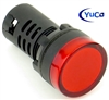 YuCo YC-22R-6 EUROPEAN STANDARD CE LISTED 22MM LED PANEL MOUNT INDICATOR LAMP RED 12V AC/DC