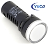 YC-22W-5 YuCo EUROPEAN STANDARD TUV CE LISTED 22MM LED PANEL MOUNT INDICATOR LAMP WHITE 480V AC