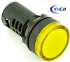 YuCo YC-22Y-2 EUROPEAN STANDARD TUV CE LISTED 22MM LED PANEL MOUNT INDICATOR LAMP YELLOW 120V AC/DC