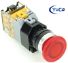 YC-P22PMMA-MIR-6 YuCo 22MM PUSH BUTTON RED MAINTAINED ILLUMINATED 12V AC/DC 35MM MUSHROOM M. INCLUDED 1NO/1NC CONTACT BLOCK