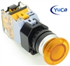 YC-P22PMMA-MIY-6 YuCo 22MM YELLOW PUSH BUTTON MAINTAINED ILLUMINATED 12V AC/DC 35MM MUSHROOM 1NO/1NC