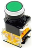 YC-P22PMO-FG YuCo 22MM GREEN PUSH BUTTON MOMENTARY FLUSH MOUNT WITH 1NO 1NC