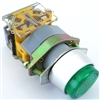 YC-P22XPMO-EG YuCo 22MM PUSH BUTTON GREEN METAL MOMENTARY EXTENDED 1NO 1NC CONTACT BLOCK
