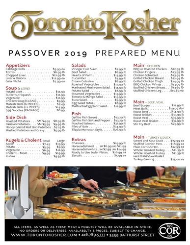 Toronto Kosher's Fabulous Passover Menu for 2019