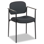 Stacking Guest Chair with Arms, Black Fabric
